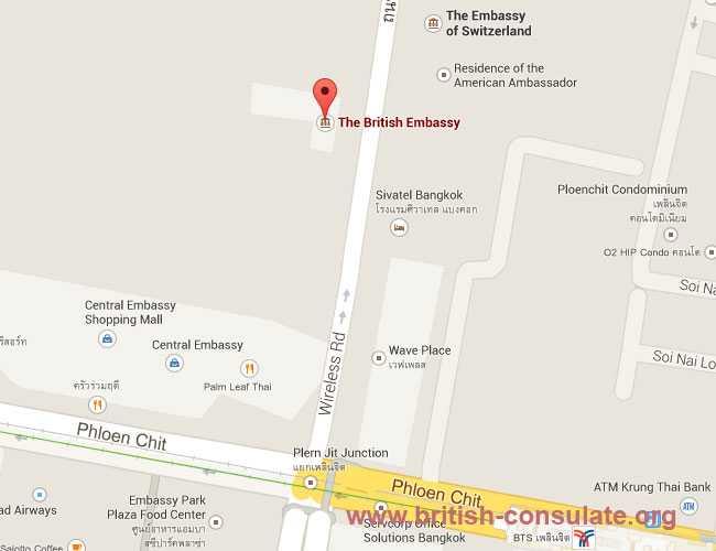 British Embassy Bangkok Thailand British Consulate - Us embassy bangkok map
