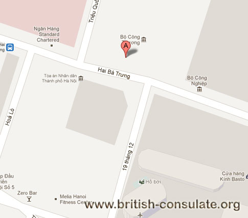 map British Embassy in Vietnam