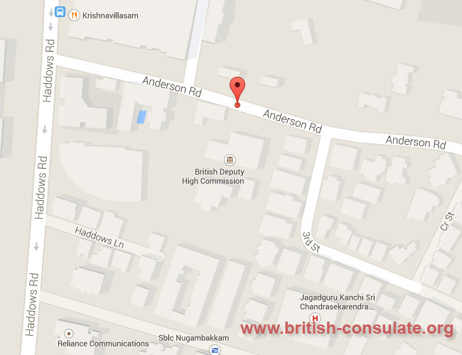 British Deputy High Commission Chennai British Consulate - Us consulate chennai map